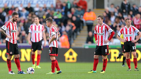 Sunderland have nowhere to hide as they collapse at Swansea City.