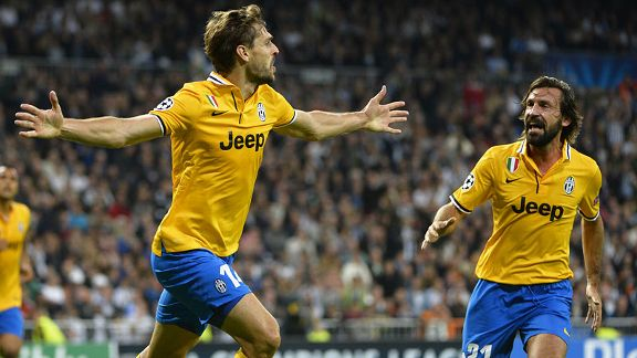 Fernando Llorente celebrates with Andrea Pirlo after bringing Juventus back level at Real.