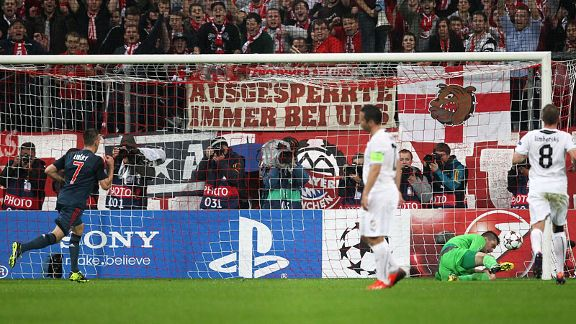 Matus Kozacik went the right way but couldn't keep out Franck Ribery's penalty.