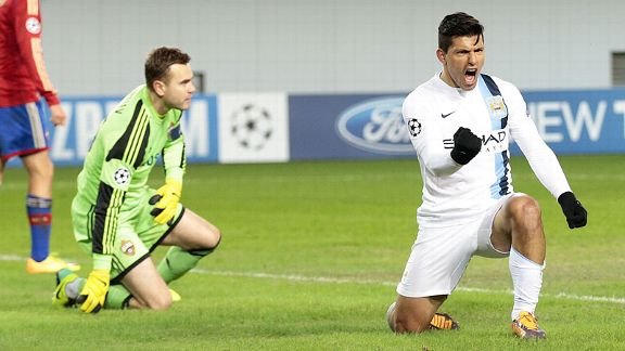 Sergio Aguero celebrates after his second goal put Man City in front at CSKA.