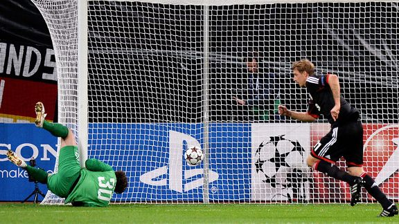 Shakhtar Donetsk goalkeeper Andriy Pyatov is powerless to keep out Stefan Kiessling's effort.