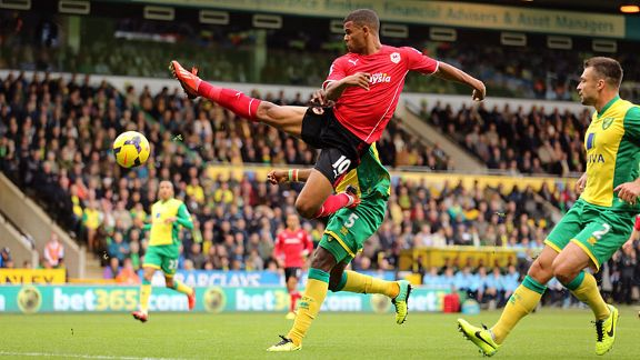 Cardiff striker Fraizer Campbell stretches for the ball at Norwich.