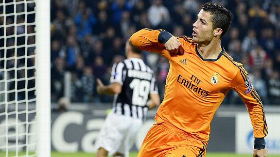 Cristiano Ronaldo celebrates after bringing Real Madrid back on level terms at Juventus.