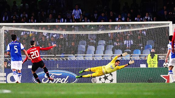 Robin van Persie's spot-kick came back off the post at Real Sociedad.