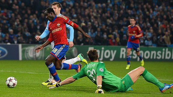 Seydou Doumbia rounds Costel Pantilimon to score for CSKA at Man City.
