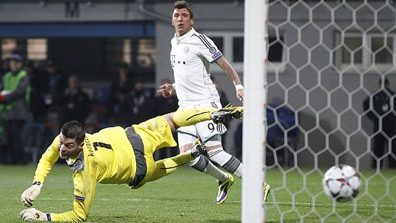 Mario Mandzukic watches as his effort earns the points for Bayern at Plzen.