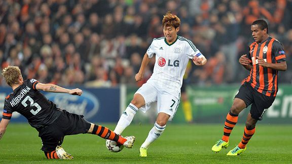 Son Heung-Min tries to break through the Shakhtar defence.