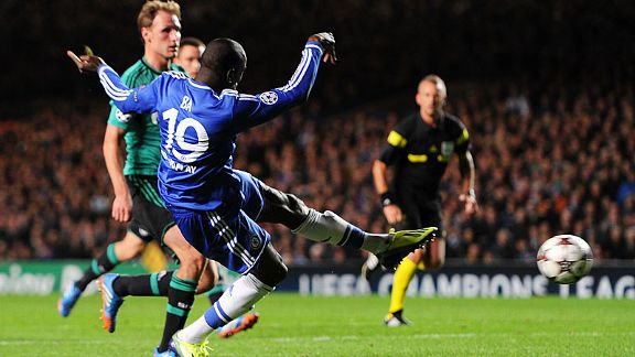 Demba Ba fires home Chelsea's third goal against Schalke.