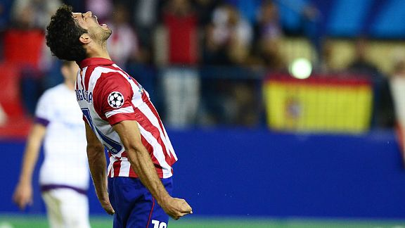 Diego Costa celebrates after scoring Atletico Madrid's fourth goal against Austria Vienna.