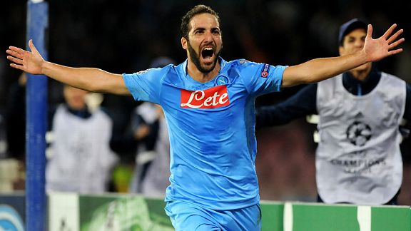 Gonzalo Higuain celebrates after he scores his second, and the winner, for Napoli against Marseille.