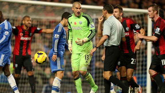 Chelsea were awarded a controversial late penalty against West Brom at Stamford Bridge.