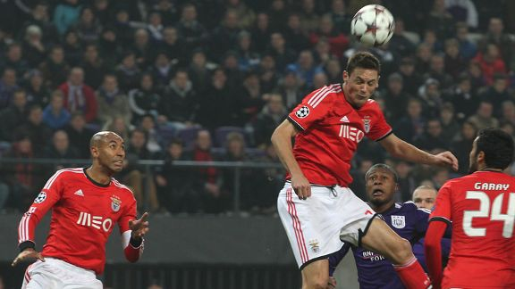 Nemanja Matic scores for Benfica against Anderlecht.