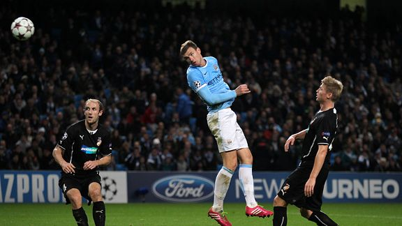 Edin Dzeko scores Man City's final goal in their win against Plzen.