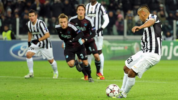 Arturo Vidal scores the first goal of his hat trick for Juventus against Copenhagen.