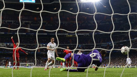 Alvaro Arbeloa scores for Real Madrid against Galatasaray.