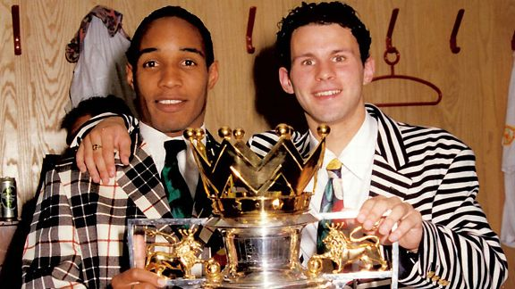 Manchester United's era of dominance began in earnest with the inaugral Premier League title in 1993. Paul Ince and Ryan Giggs were a dapper duo.