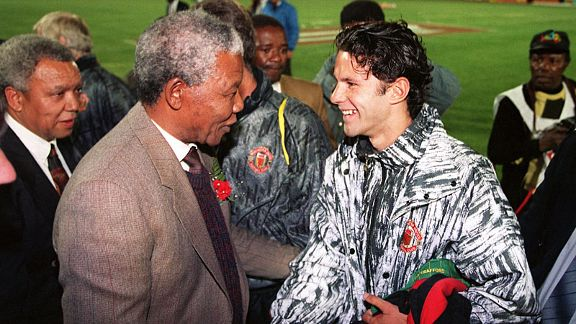 Ryan Giggs meets Nelson Mandela on Manchester United's tour of South Africa in 1993.