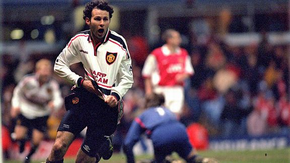 Ryan Giggs celebrates his wonder solo goal scored against Arsenal in the FA Cup semi-final replay at Villa Park in 1999.