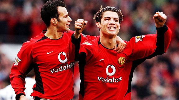 Ryan Giggs congratulates a youthful Cristiano Ronaldo after the Portuguese scored against Spurs in 2004.