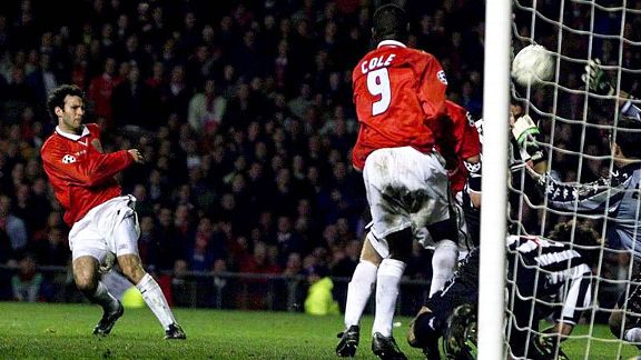 Ryan Giggs scres a crucial injury time equaliser in the first leg of Man United's Champions League semi-final against Juventus in 1999.