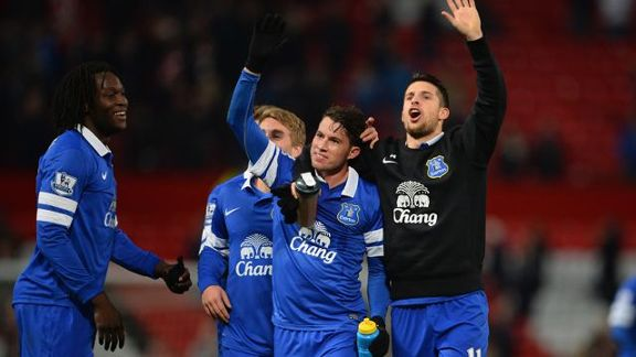 Everton players celebrate their win against Man United at Old Trafford.