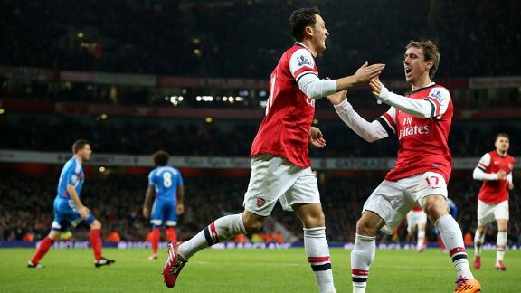 Mesut Ozil scored Arsenal's second goal against Hull.