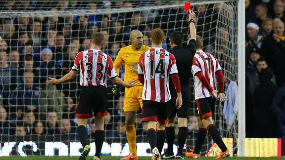 Tim howard red card Everton vs. Sunderland