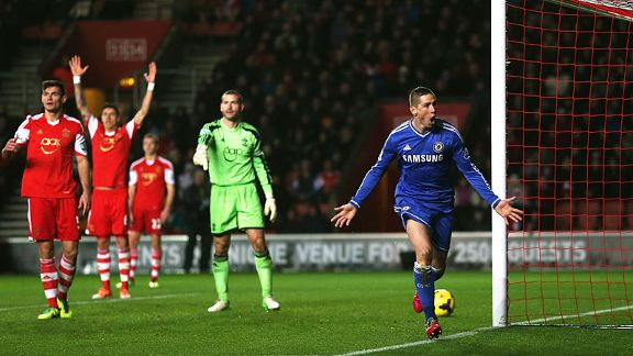 Southampton's appeals for offside fall on deaf ears after Fernando Torres scored from close range.