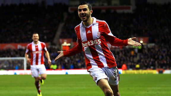 Liverpool loanee Oussama Assaidi celebrates after putting Stoke into the lead against Everton.