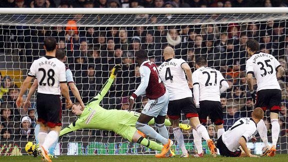 Mohamed Diame fires West Ham United into a seventh-minute lead at Fulham.