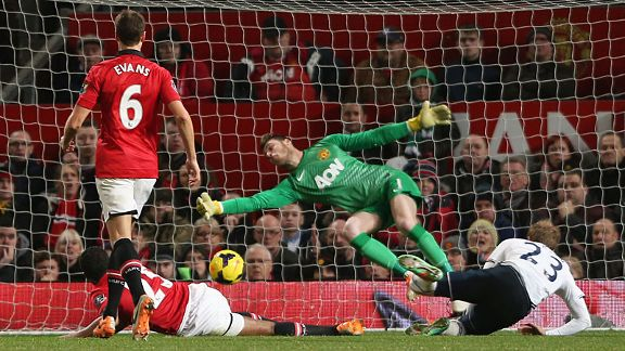 Christian Eriksen stoops to head home Spurs' second goal at Old Trafford.