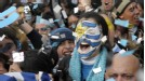 Uruguay fans are jubilant after Diego Forlan's equaliser