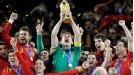 Iker Casillas holds up the trophy.