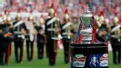 The FA Cup trophy stands before the game