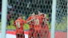 Russia celebrate after taking the lead against Azerbaijan through Roman Shirokov's late penalty