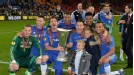 Chelsea celebrate their Europa League success in Amsterdam