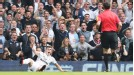 Gareth Bale and the Spurs fans are in shock as referee Andre Marriner turns down a penalty appeal and books the winger for diving