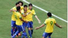 Brazil celebrate after Neymar's stunning early goal against Japan