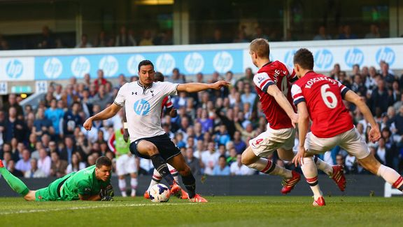 Nacer Chadli rounds goalkeeper Wojciech Szczesny but Arsenal kept him out.