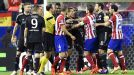 Handbags during the Champions League semifinal first leg between Atletico Madrid and Chelsea.