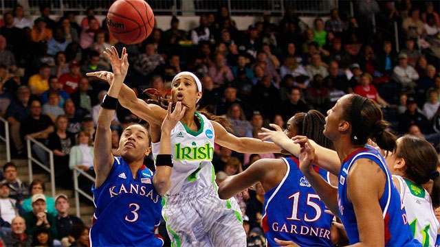 #12 Kansas vs. #1 Notre Dame (Regional Semifinal #1): 2013 NCAA Women's Basketball Championship