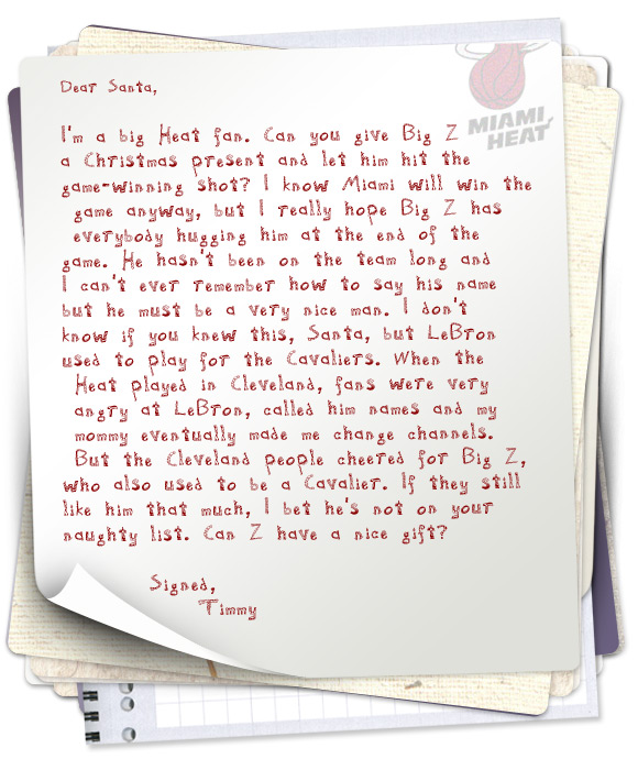 ... The Southland Looking For Letters From Kids Asking Santa For Presents  For The Los Angeles Lakers And Miami Heat. Hereu0027s A Sample Of What They  Found:  Christmas Wishes Samples