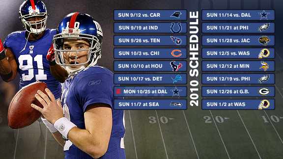 New York Giants 2010 schedule