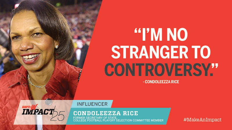 Condoleezza Rice, 60, Former Secretary of State, College Football Playoff Selection Committee Member