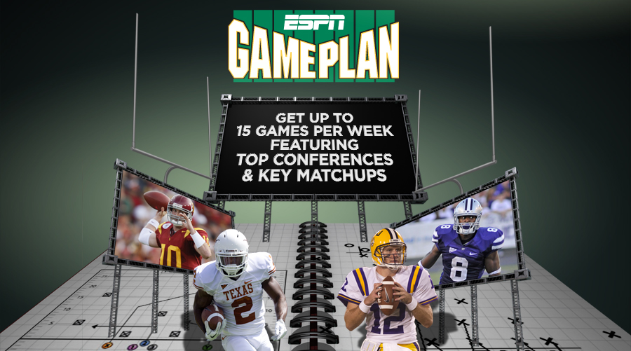 ESPN GamePlan.  Watch Up to 15 Games Per Week Featuring Top Conferences and Key Matchups.