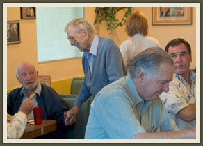 Wooden's morning ritual at VIPs begins with greeting each of the regulars by name.