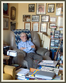 One of only two people to be inducted into the Basketball Hall of Fame as both player and coach, John Wooden sits in his den and office surrounded by a lifetime of memorabilia, books and correspondence.
