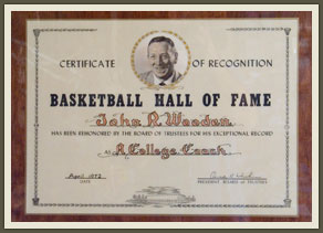 "Though recognition of his career, his HOF induction was a player's achievement in Wooden's eyes, ""you try to help, but the players win the games."""