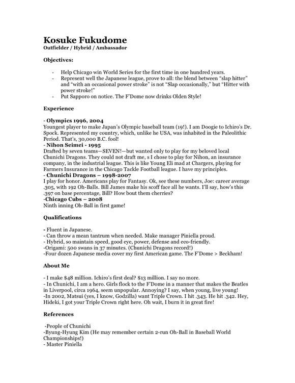 fake resume kosuke fukudome - Fake Resume Example