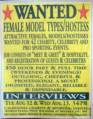 In a full-page ad, Sterling sought pretty women to host parties.